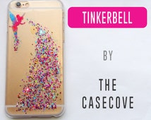 Tinkerbell Disney GLITTER Case - iPhone 7 SE 4 4s 5 5s 5c 6 6s 6 + Plus - Phone - Watercolour Clear - Watercolor - Fairy
