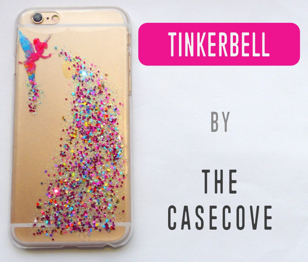Tinkerbell Disney GLITTER Case iPhone 7 SE 4 4s 5 5s 5c 6 6s