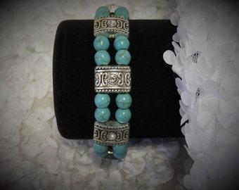Turquoise Bracelet w/Rhinestone Spacers