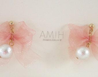 Pink ribbon, dangle cotton pearl earrings