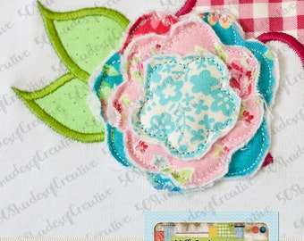 Frayed Flower Add-On Applique Design (does not include applique initial or embroidery font)