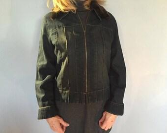 Vintage style Denim jacket detachable fur collar Small (approx size UK 12)