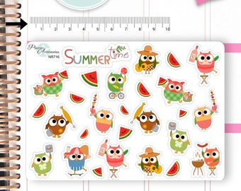 Owl Stickers Cute PicniC Owl Stickers Summer Owl Stickers Planner Stickers Erin Condren Functional Stickers Decorative Stickers NR716