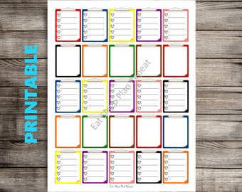 PRINTABLE for Erin Condren - Clipboard Checklists Clipboard Stickers for Life Planner Vertical Layout Note Stickers