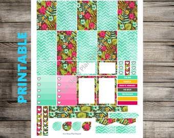 PRINTABLE for Happy Planner Floral & Chevron Watercolor Planner Sticker Weekly Kit