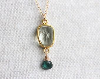 Green Amethyst & Tourmaline Necklace, Gold Filled Chain, Bezel Pendant, Boho Chic Jewelry