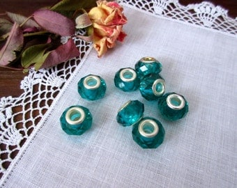 Green Beads Faceted Crystal   Euro Beads, European Style, Fits European Bracelet, Large Hole Beads  Big Hole Beads,