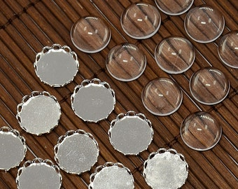 10 Sets - 10 mm Silver Plate Cabochon Frame with Magnifying Glass Dome (1117)