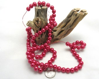 """1 Strand (32"""") Round Glass Pearl Beads 8mm - Red Violet (B69h)"""