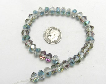 1 Strand  Tiara Glass Crystal Rondelle Beads Faceted 8x5mm Sahara Green (B76d1)