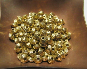 100 Tibetan Style Antique Gold Bicone Spacer Beads 5mm (B2)