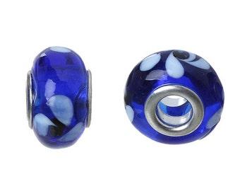 10 Handmade Glass Lampwork Euro Beads Blue & White (BR1w)