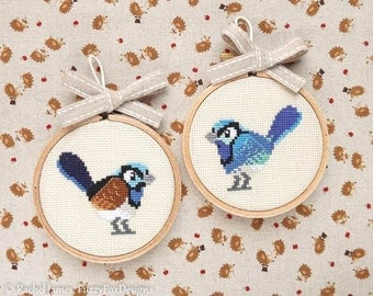 Fairy Wren Cross Stitch Pattern PDF | Superb and Splendid Wren | Cute Little Bird | Easy Modern | Beginners Counted Cross Stitch | Download