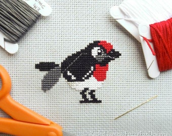 Red Capped Robin Cross Stitch Pattern PDF | Cute Little Bird | Easy | Modern | Beginners Counted Cross Stitch | Instant Download