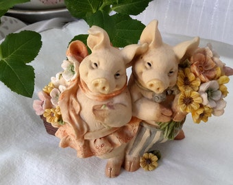 Pig figurine, Two little Pigs, Mr and Mrs Pig in the garden, happy pigs with flowers, Pretty pottery married pigs Great wedding gift.