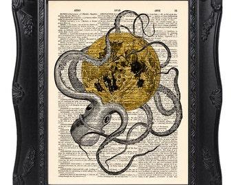 Octopus art print, Octopus moon print, Dictionary art print, Vintage book art print, Home Wall Decor, Gift poster [ART 043]