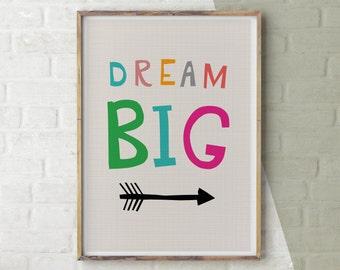 Dream Big Print, New Baby Print, Nursery Artwork, Inspirational Quote Print.