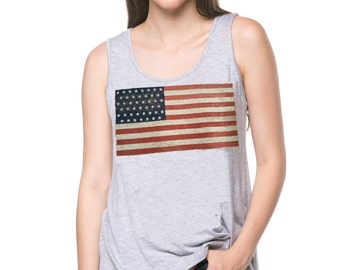American Flag Tank Top - Available in Gray, Khaki & Black