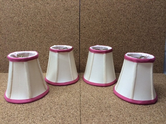 "Small Vintage 4"" Cloth Lampshade Pink & White Chandelier Wall Sconce Light Lamp Shade Shabby Chic"