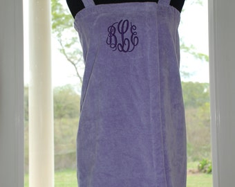 Monogrammed Girl's Terry Spa Wraps, Personalized Shower Cover Up, Monogram Beach Cover Up, Custom Gifts
