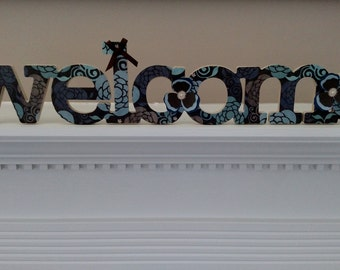 Welcome Sign, Chipboard, Brown and Blue Welcome, Wall Decor, PizzazinPaper