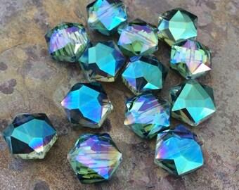 6 Hexagon Glass Crystal Beads, Blue, AB Finish, 11x12x7mm
