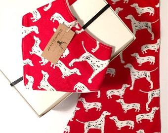 Bandana bib and Burp Cloth gift set - Pretty Puppy