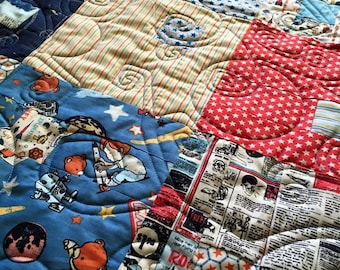 Baby Boy Rocket Ship Patchwork Baby Quilt Handmade with Love