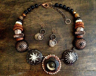 OOAK Brown Coconut Shell and Copper Necklace with Matching Earrings