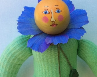 Blue Cosmo Flower Head Decorative Doll