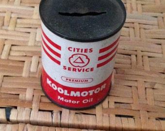 Vintage cities service koolmotor oil can bank