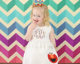 Monogram Elmo Dress, Toddler Elmo Dress, Baby Girl Elmo Dress, Elmo Dress, Birthday Dress
