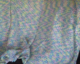 """cozy pastet baby blanket made with JoAnn's Sensations acrylic yarn machine washable and dryable 55"""" by 61"""""""