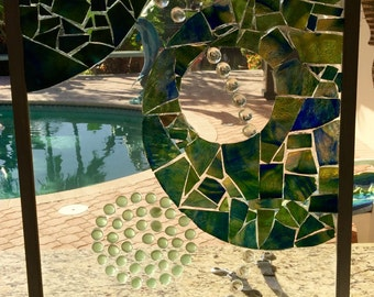 Mosaic stained glass reclaimed window wall art hanging