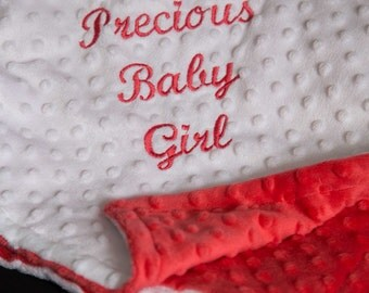 Coral Minky Baby Blanket