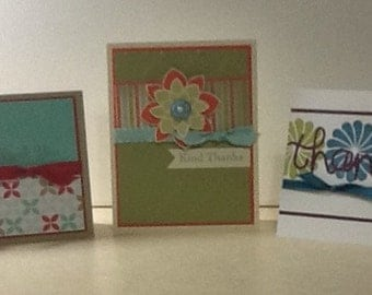 Set of 3 handmade hand stamped Thank You cards
