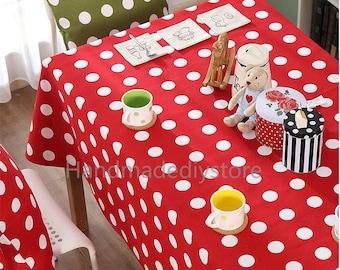 Large Polka Dot Fabric, Red/ Green Big Dotty Pattern Fabric, Circle Dots Sewing Fabric by The Half Yard (JJ115)