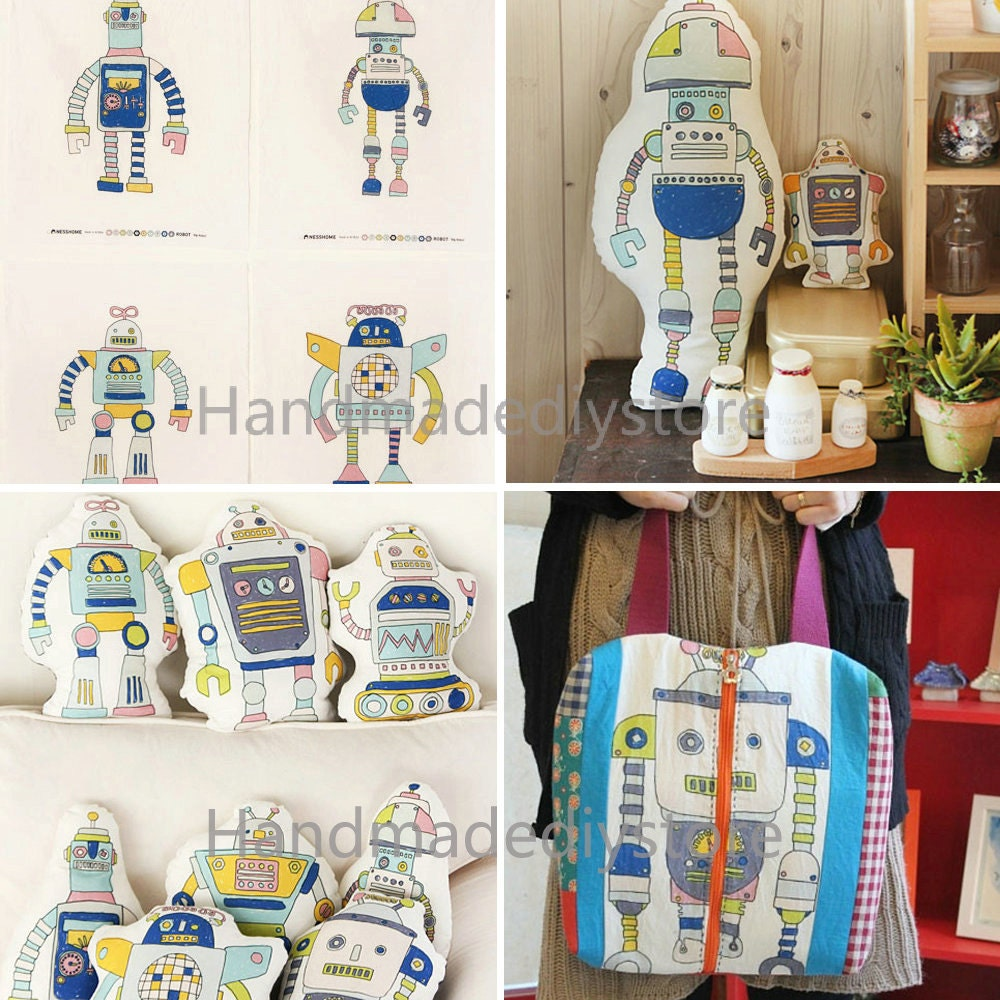 Blue robot fabric cartoon big robots pattern wall hanging for Fabric for boys room