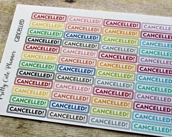 Cancelled Stickers - Reminder Stickers - Planner Stickers  - Functional Stickers - Rainbow Stickers - Fits Erin Condren - Happy Planner