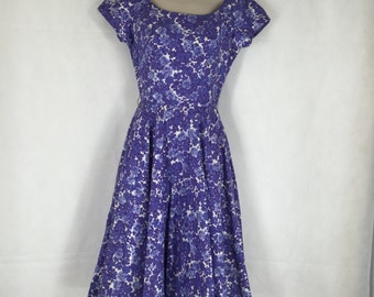 1950s Jerry Gilden Summer Dress with Crystal Embellished Bodice - Size 10 #E121