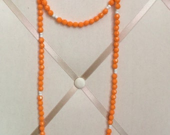 "Double wrap necklace, Boho beaded necklace, wrap necklace, double wrap beaded necklace, Tennessee ""vols"" necklace"