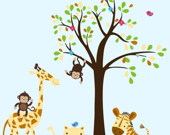 "Baby Boy Nursery Decals - Nursery Wall Decals - Jungle Wall Sticker - Animal Decals - Animal Wall Stickers - Baby Room Décor - 86"" x 99"""