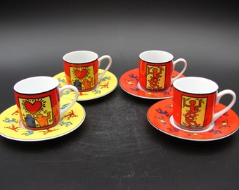 Pop Art Keith Haring 4x espresso cup and saucer Könitz