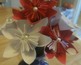 White & red kusudama  flowers  bouquet