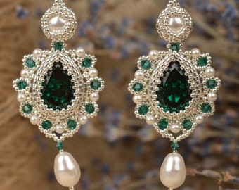 Earrings Large Bright Evening Swarovski Crystals and Pearls