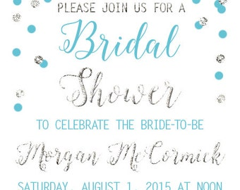 Bridal Shower Invitation, Blue and Silver