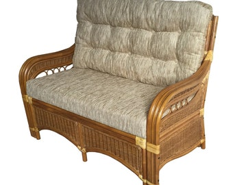 Living Sofa Loveseat model Sherry 4 Colors with Cushions Rattan Wicker