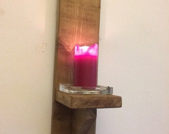 Handmade, reclaimed wooden wall candle holders