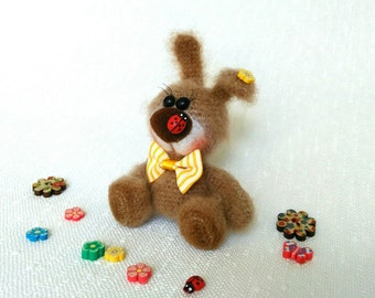 Charming Beige Bunny Stuffed rabbit doll Stuffed toy Little rabbit Miniature Toy Small gift Cute rabbit Mohair Kids Toy Handcrafted Crochet