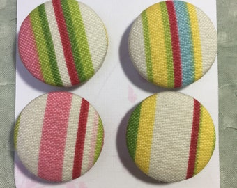 Handmade fabric buttons, Covered buttons, 1.2 inches, 33mm, 4's